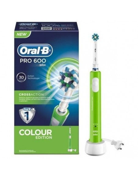 CEPILLO DENTAL ELECTRICO RECARGABLE ORAL B PRO 600 CROSS ACTION COLOUR VERDE