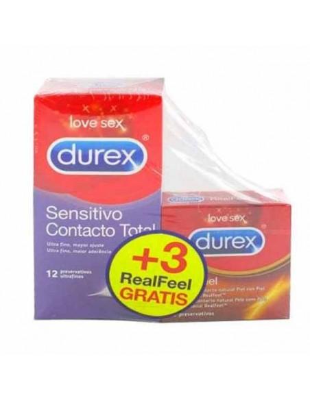 DUREX SENSITIVO CONTACTO TOTAL 12 UNIDADES + 3 DE REGALO