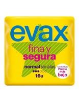 COMPRESAS EVAX FINA Y SEGURA NORMAL SIN ALAS 16 UNIDADES