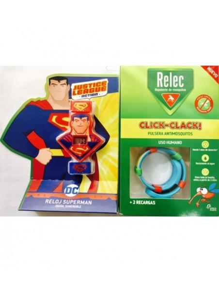 RELEC PULSERA ANTIMOSQUITOS SUPERMAN + RELOJ +3 AÑOS