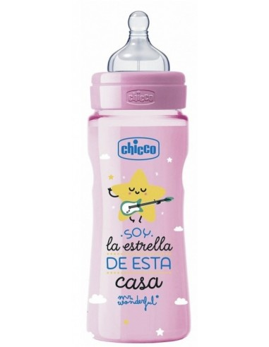 BIBERON CHICCO MR WONDERFUL ROSA FISIOLOGICO FLUJO NORMAL 4M+ 330 ML