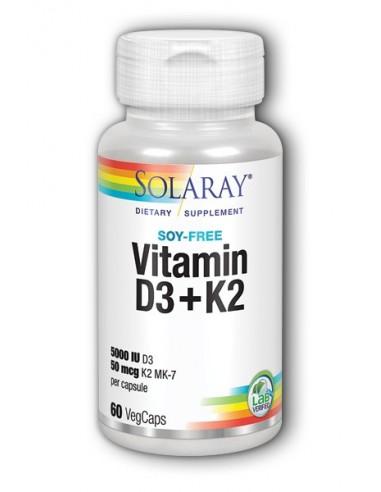 Solaray vitamina D3 y K2 60 cápsulas